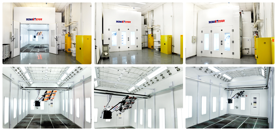 High Pressure Spray Booth : Suspended rail infrared lamp in spray booth industrial