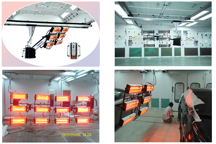 Ys D601 Overhead Moveable Shortwave Infrared Paint Curing Lamp Industrial Paint Booth Systems